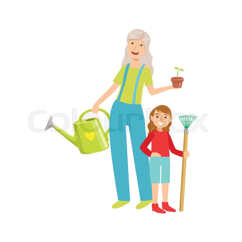grandmother and granddaughter gardening part of grandparent and