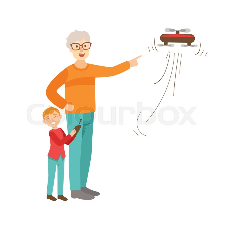 grandfather and grandson flying a drone part of grandparent and