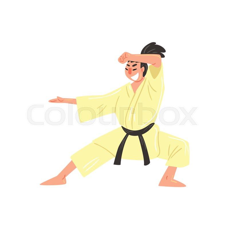 Karate Professional Fighter In Kimono Stock Vector Colourbox