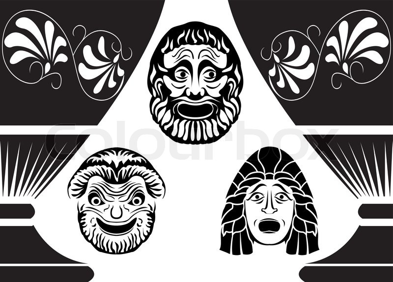 Classical ancient greek theatrical masks set from three for Ancient greek mask template