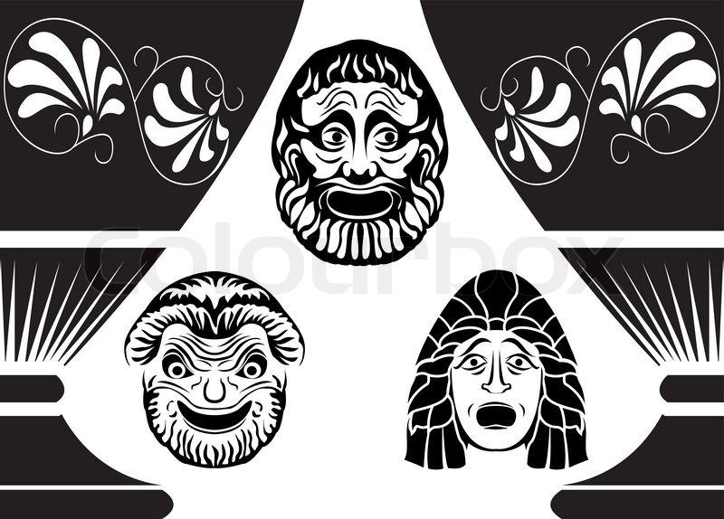 Klassische antike griechische theatermasken von drei for Ancient greek mask template
