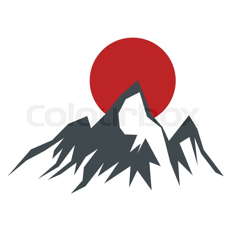 rock mountain silhouette vector illustration with sun isolated on
