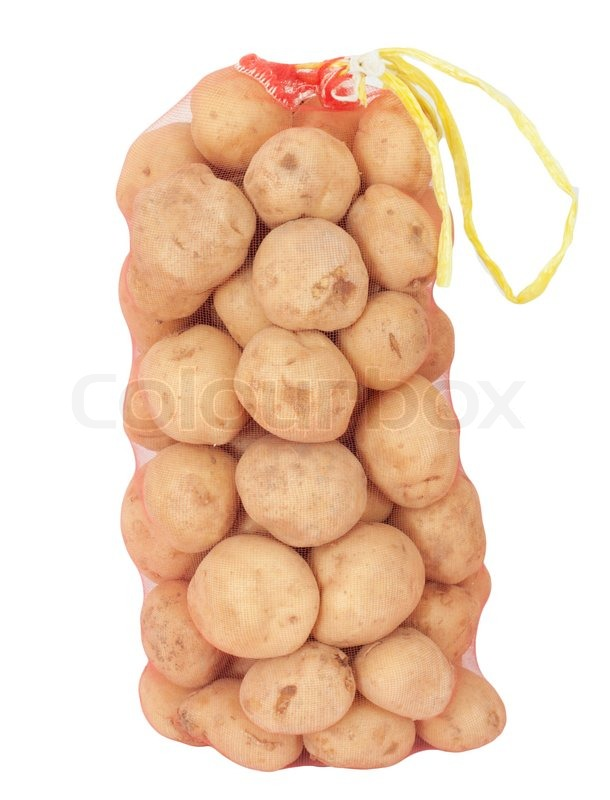 A sack of potatoes on a white background | Stock Photo ...