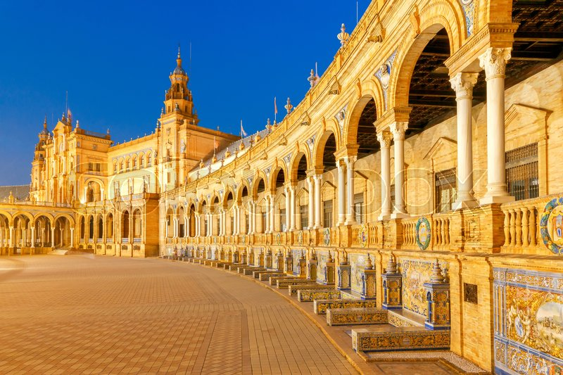 Spanish Square in Sevilla at night. Spain. Andalusia, stock photo