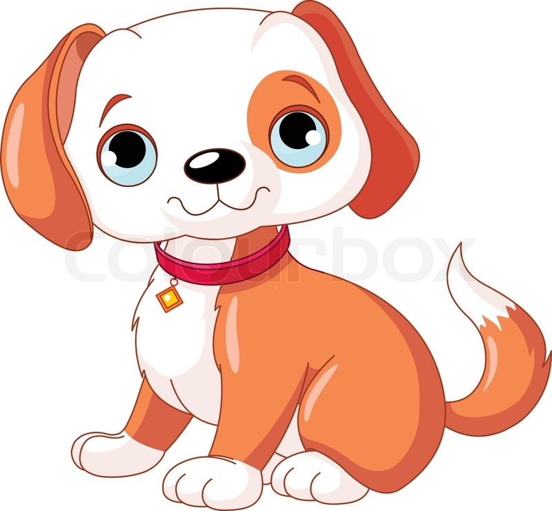 Illustration of cute puppy is wearing a tagged red stock vector Smiling Dog And Cat