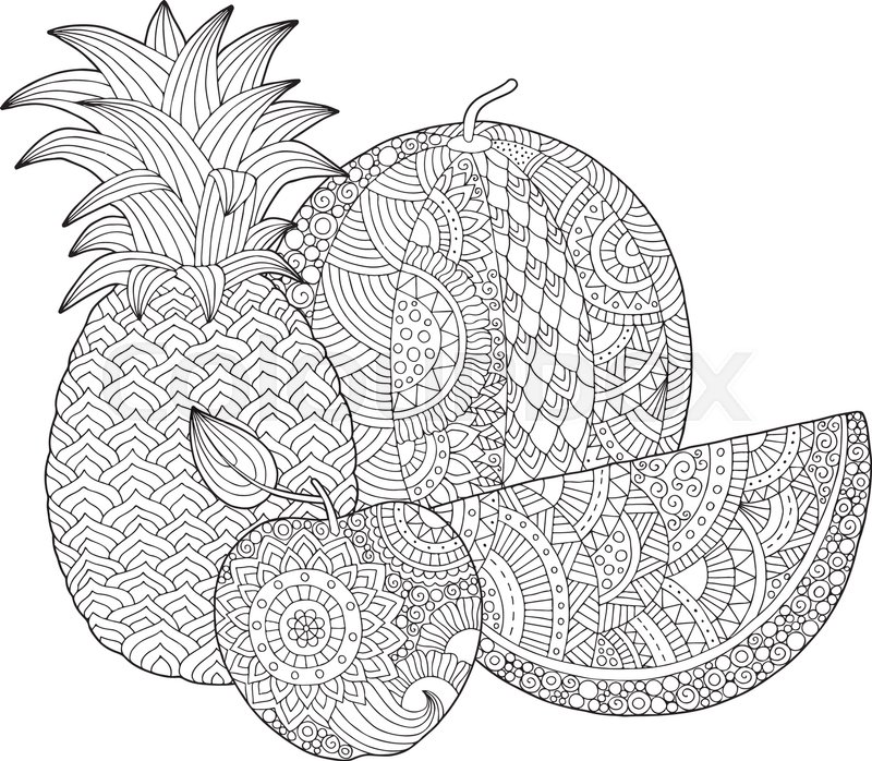 Vector hand drawn pineapple, watermelon, apple ...