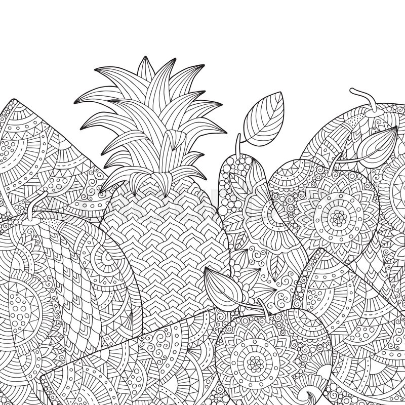 Vector hand drawn pineapple, watermelon, apple illustration for ...