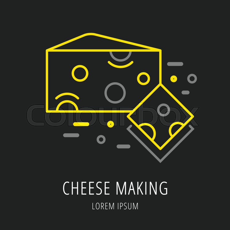 Logo or label cheese making. Line style logotype template with ...