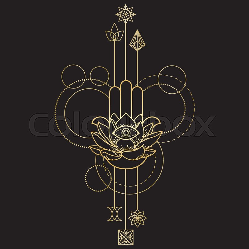 Abstract Techno Tattoo Of Gold Hand Of Fatima Lotus And Eye With