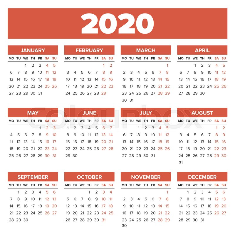 Calendar With Week Numbers 2020.Simple 2020 Year Calendar Week Starts Stock Vector Colourbox