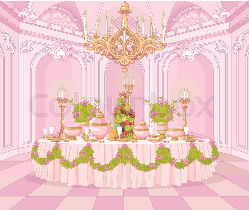 Cartoon Dining Room: Served Dining Table In The Dining Room In Princess Palace