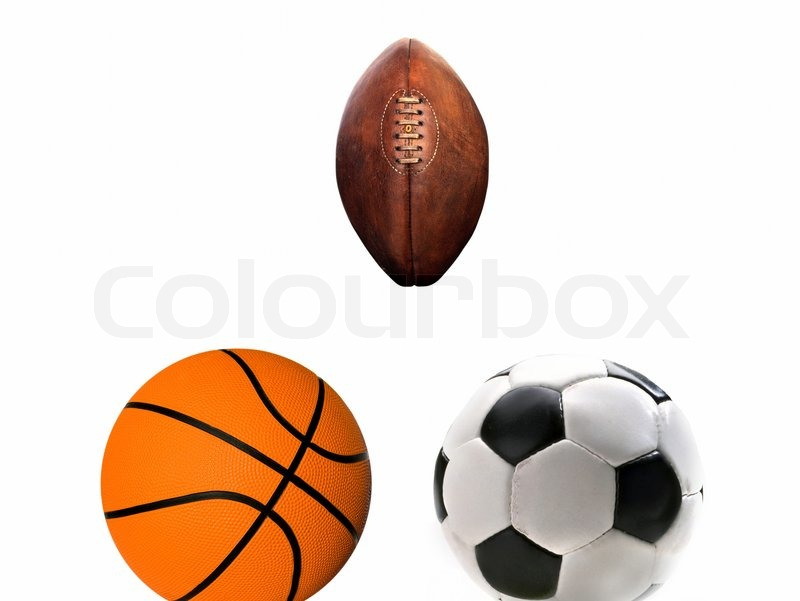 A Group Of Sports Balls On White Background Stock Photo