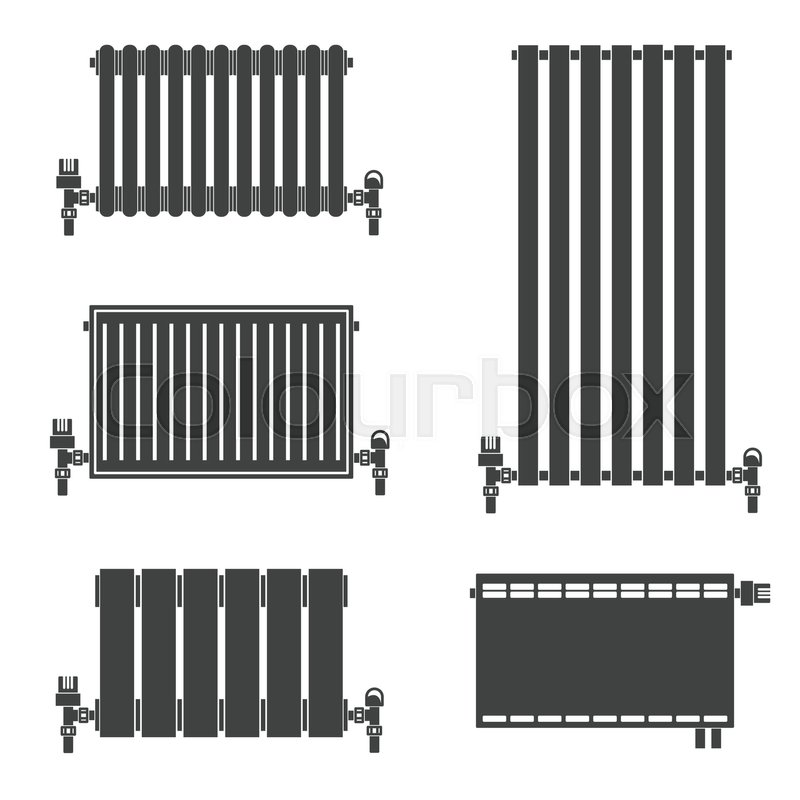 Central Heating Radiators silhouette icons for web and mobile ...