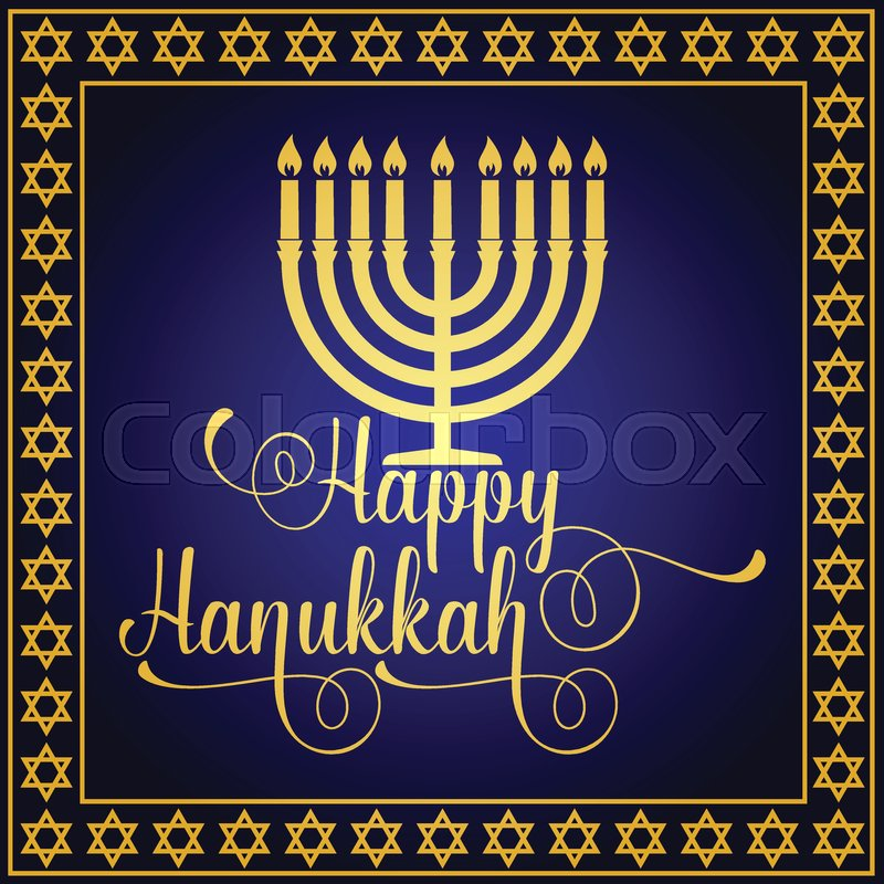 Happy hanukkah greeting card typography design candlestick with happy hanukkah greeting card typography design candlestick with nine candles vector illustration card with lettering text and hanukkah menorah m4hsunfo