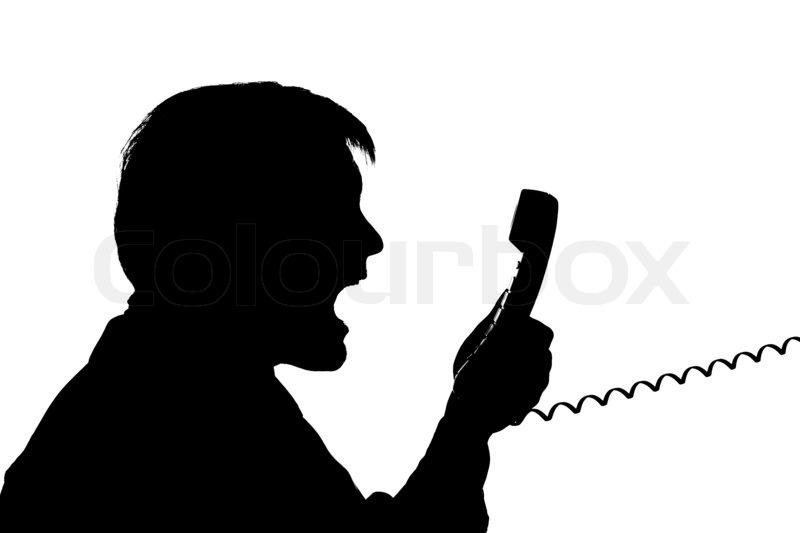Black Man on Phone Black Silhouette Man Scream to
