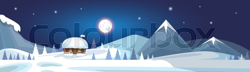 Winter Mountain Landscape White Snow Banner Flat Vector Illustration, vector