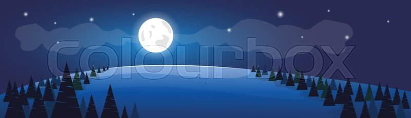 Winter Forest Night Landscape White Snow Banner Flat Vector Illustration, vector
