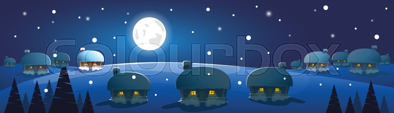 Winter Village Night Landscape White Snow Banner Flat Vector Illustration, vector