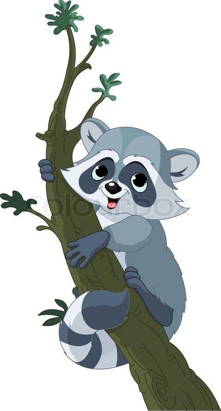 Illustration von cute funny cartoon raccoon klettern auf