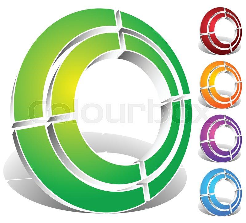 Segmented Circle Abstract Icon Circular Geometric Logo Icon In 4