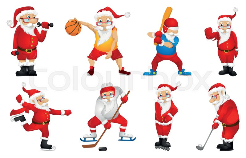 Set of sporty santa claus characters playing sports games