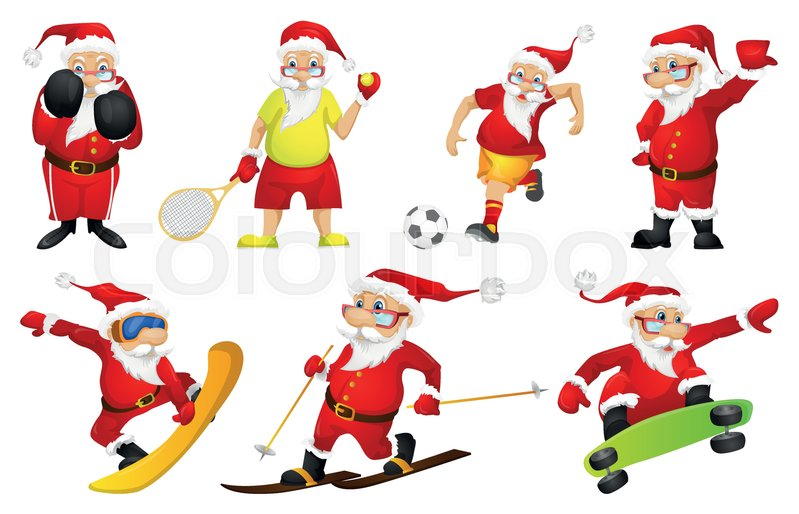 Set of sporty santa claus characters playing tennis