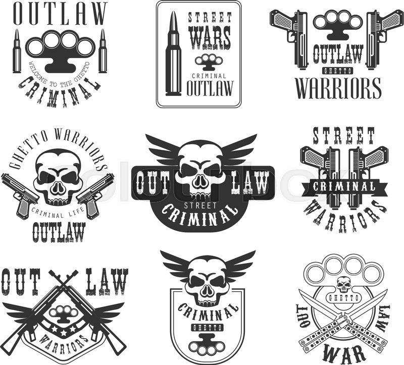 Criminal outlaw street club black and white sign design templates criminal outlaw street club black and white sign design templates with text and weapon silhouettes collection of monochrome vector emblems with ghetto sciox Gallery