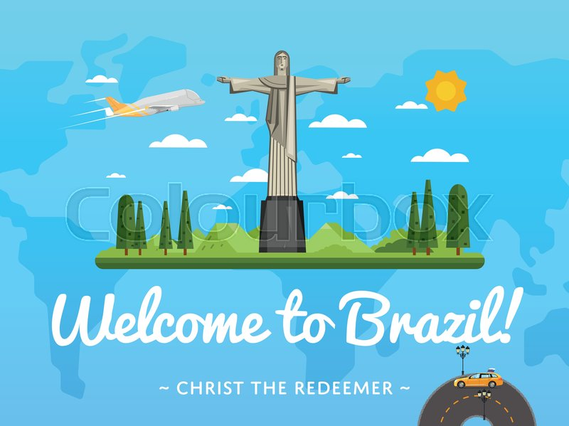 Welcome to Brazil poster with famous attraction vector illustration