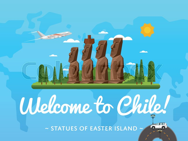 Welcome to Chile poster with famous attraction vector illustration. Travel design with Moai statues from Easter island. Worldwide air traveling, time to travel, discover new historical places, vector
