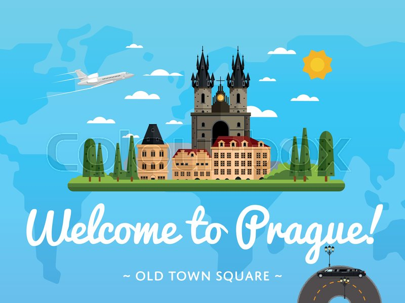 Welcome to Prague poster with famous attraction vector illustration. Travel design with Old Town Square. World travel and tourism, traveling agency banner, Czech architectural landmark, vector