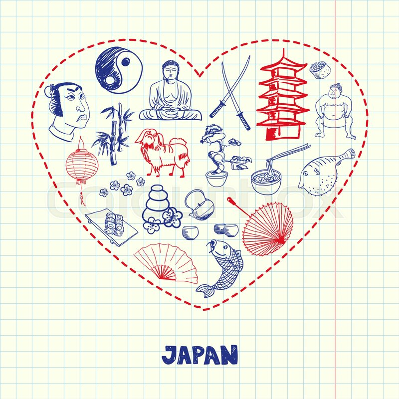 Love Japan Dotted Heart Filled With Colored Doodles Associated With