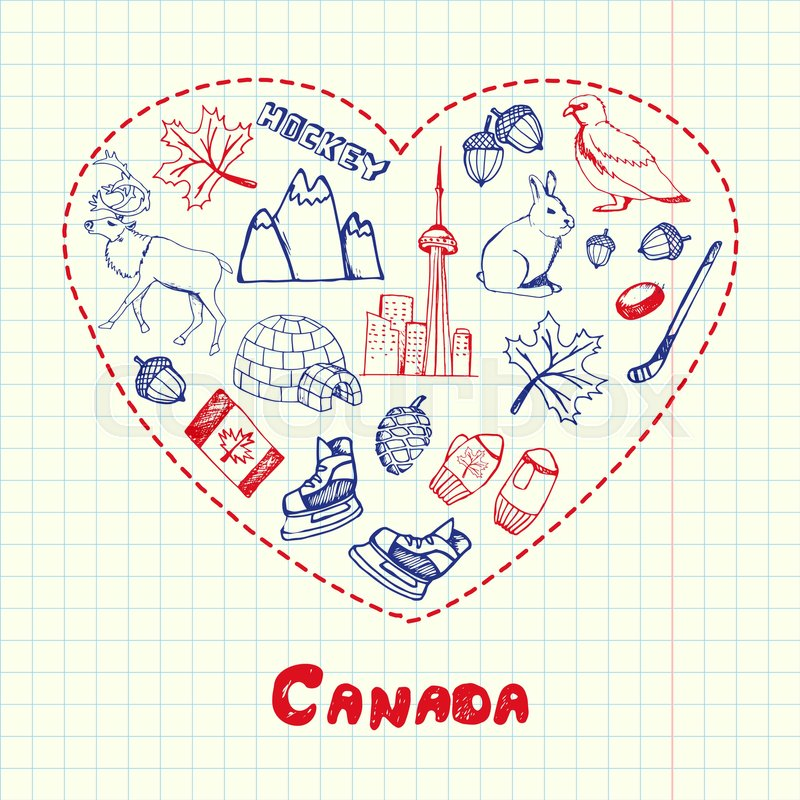 Love Canada Dotted Heart Filled With Colored Doodles Associated