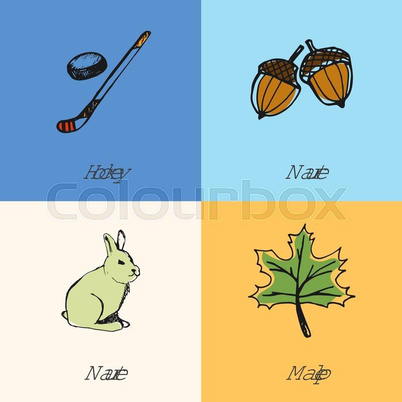 Canadian National Symbols Ice Hockey Stick And Puck Acorns Maple