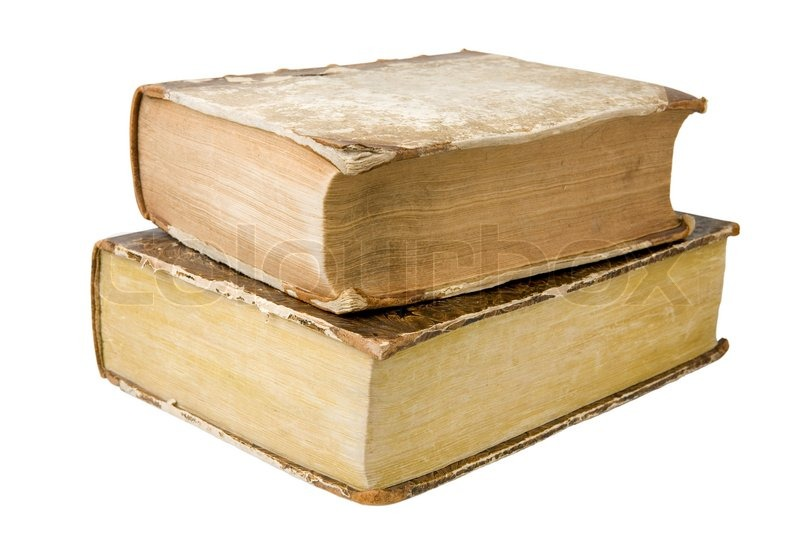 two thick antique books isolated on a white background stock photo