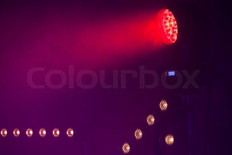 Red LED Spot light, stage illumination equipment, stock photo