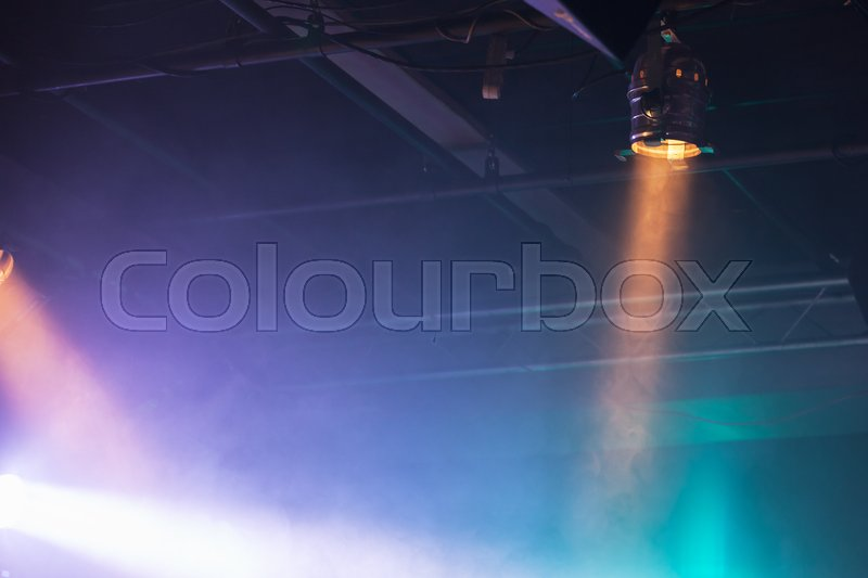 Spot lights over dark ceiling background, stage illumination equipment, stock photo
