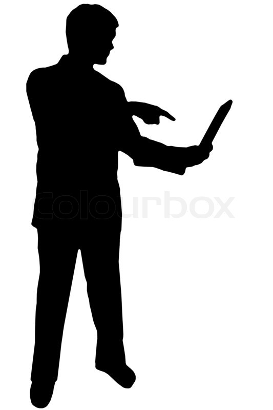 Black Man on Phone Black Silhouette Man on White