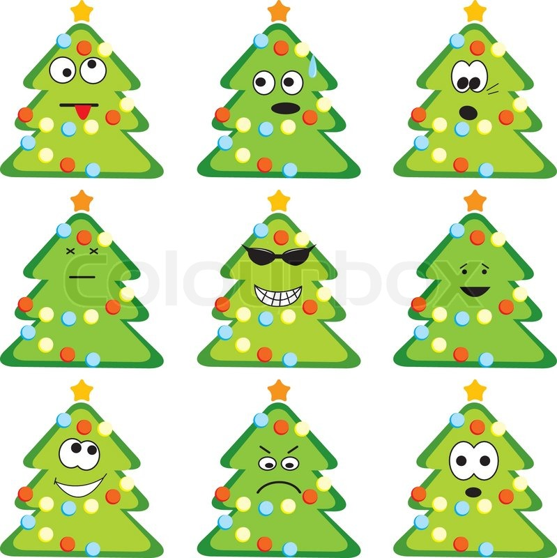 Cartoon Christmas Trees Set With Different Emotions Vector Illustration