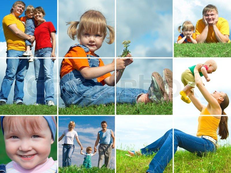 Glückliche Familie im Freien Montage -Rahmen   Stockfoto   Colourbox