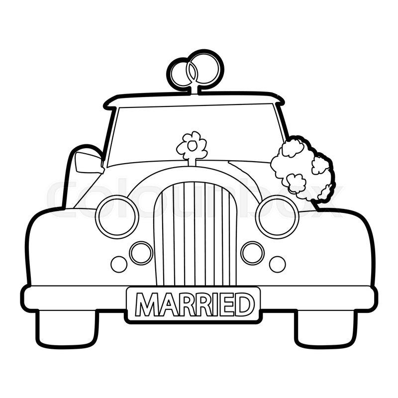 Wedding Car Icon. Outline Illustration ...