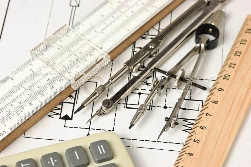 Engineering tools on a technical drawing | Stock Photo | Colourbox