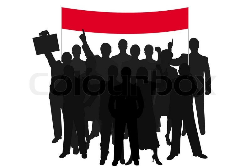 Stock image of 'Group silhouette people demonstration with red bill over white background'