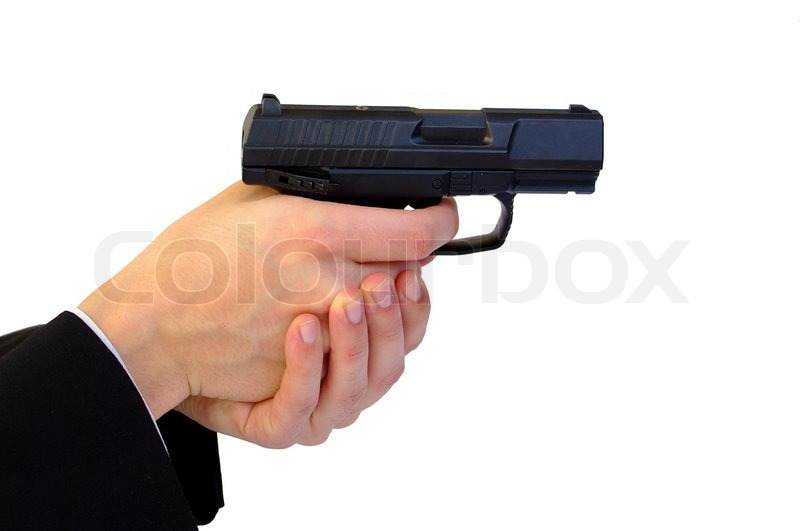 Holding pistol with two hands | Stock Photo | Colourbox