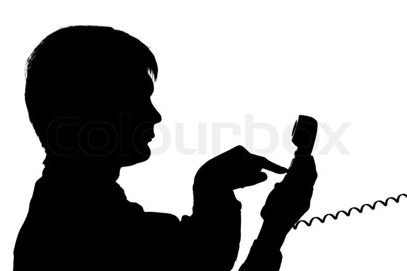 Black Man on Phone Black Silhouette Man Dial on