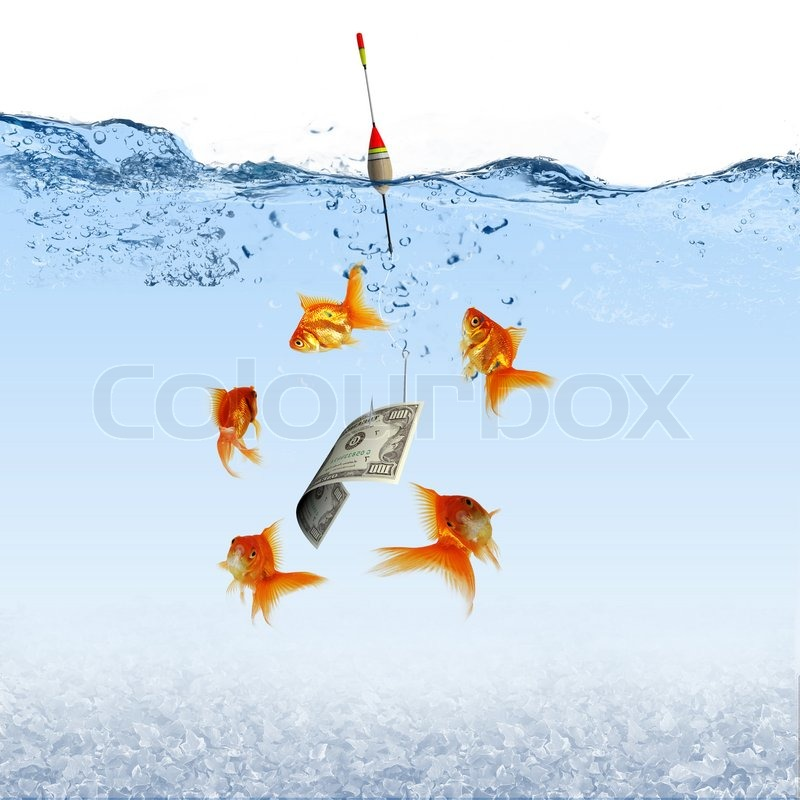 Collage Of Swimming Gold Fish And Money Symbols Stock Photo