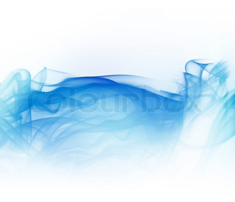 Abstract light blue smoke isolated on white background ...