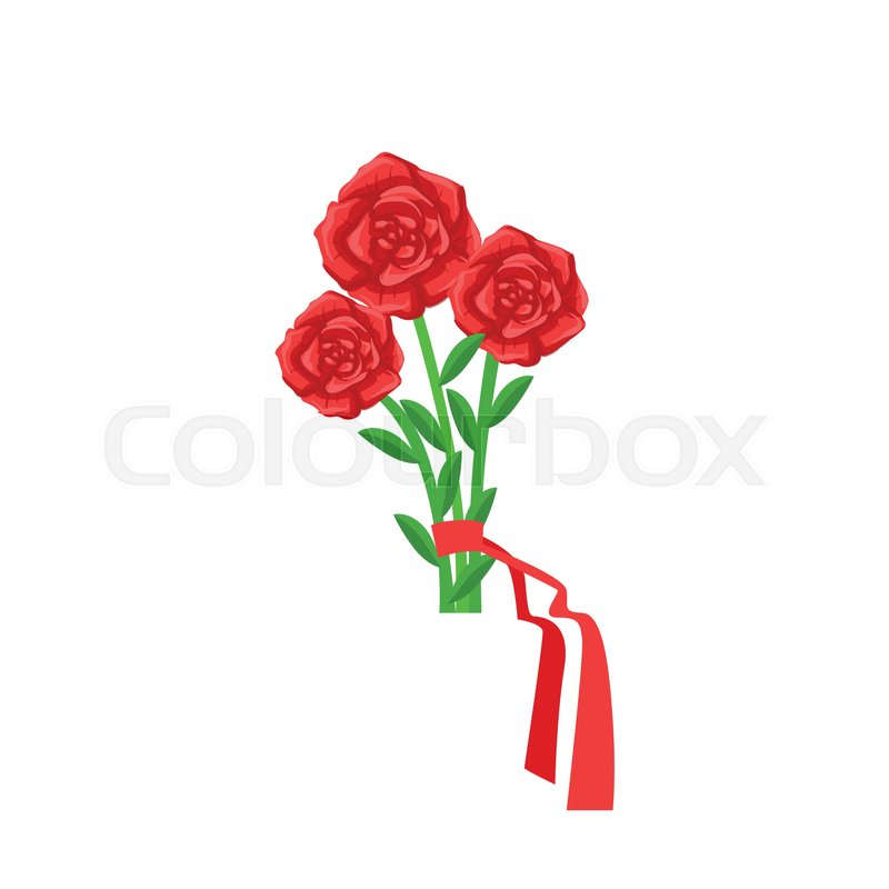 Red Roses Flower Bouquet Tied With Red Ribbon, Flower Shop ...