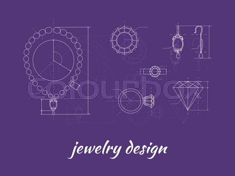 Jewelry design banner ring earring and necklace graphic scheme jewelry design banner ring earring and necklace graphic scheme diamond shape blueprint outline jewelry craft jewelry making a handmade jeweler process malvernweather Gallery
