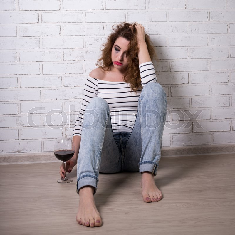 Image result for sad girl with wine