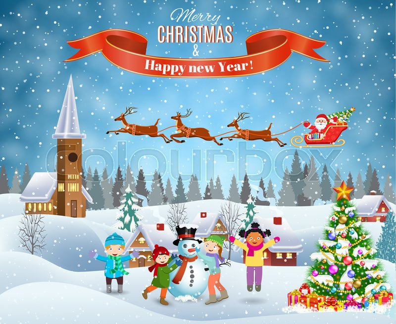 Happy new year and merry Christmas landscape card design. Winter fun ...